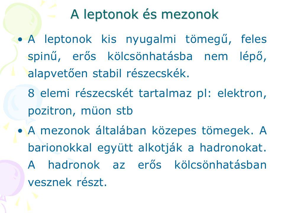 A leptonok és mezonok A leptonok kis nyugalmi tömegű, feles spinű, erős kölcsönhatásba nem lépő, alapvetően stabil részecskék. 8 elemi részecskét tart