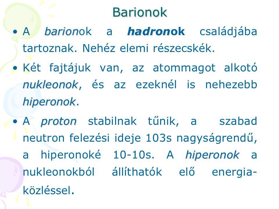 Barionok barionhadronA barionok a hadronok családjába tartoznak. Nehéz elemi részecskék. nukleonok hiperonokKét fajtájuk van, az atommagot alkotó nukl