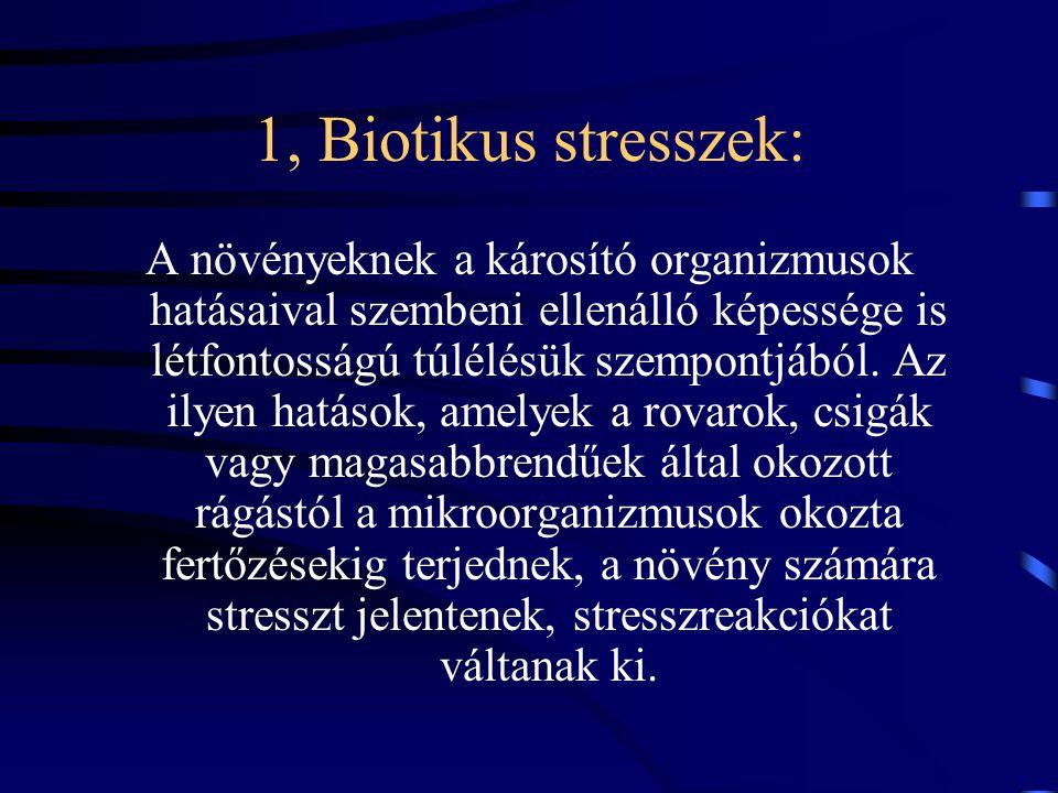 1, Biotikus stresszek: A növényeknek a károsító organizmusok hatásaival szembeni ellenálló képessége is létfontosságú túlélésük szempontjából.