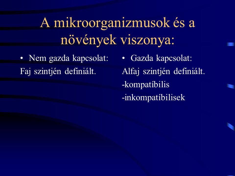 A mikroorganizmusok és a növények viszonya: Nem gazda kapcsolat: Faj szintjén definiált.