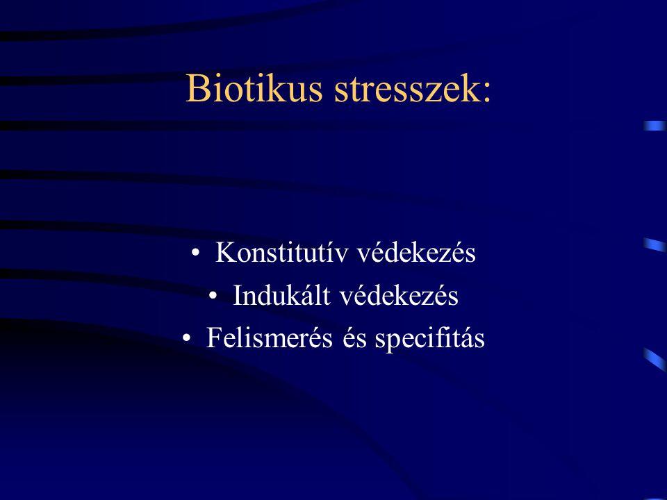 Biotikus stresszek: Konstitutív védekezés Indukált védekezés Felismerés és specifitás