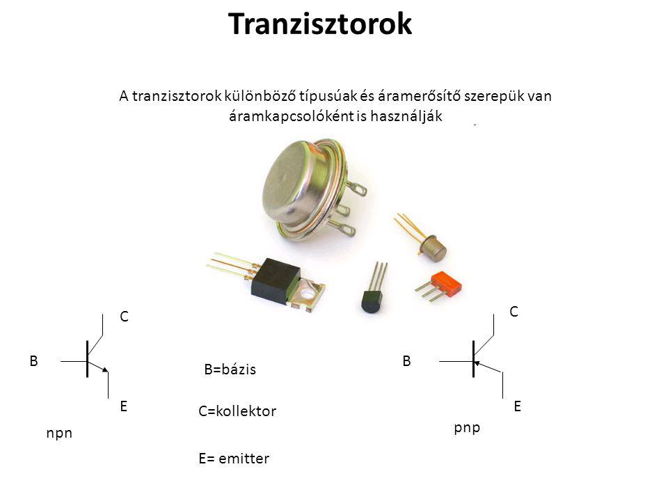 A tranzisztorok különböző típusúak és áramerősítő szerepük van áramkapcsolóként is használják Tranzisztorok B C E npn C=kollektor E= emitter B=bázis B C E pnp
