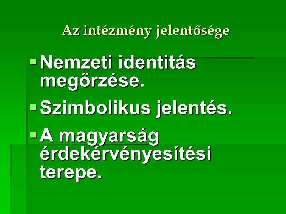 Az intézmény jelentősége  Nemzeti identitás megőrzése.  Szimbolikus jelentés.  A magyarság érdekérvényesítési terepe.