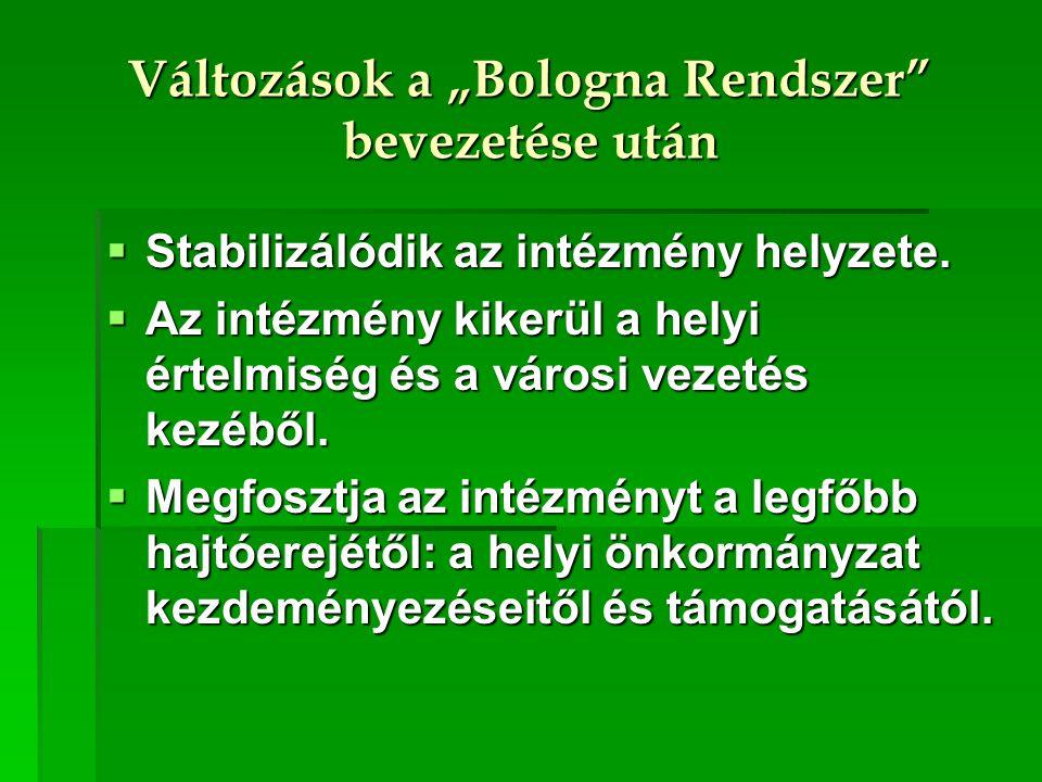 """Változások a """"Bologna Rendszer"""" bevezetése után  Stabilizálódik az intézmény helyzete.  Az intézmény kikerül a helyi értelmiség és a városi vezetés"""