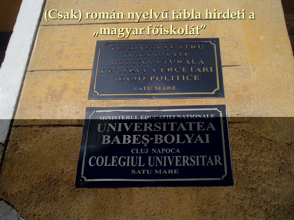 """(Csak) román nyelvű tábla hirdeti a """"magyar főiskolát"""""""