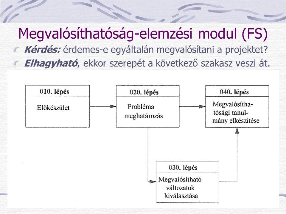 Megvalósíthatóság-elemzési modul (FS) Kérdés: érdemes-e egyáltalán megvalósítani a projektet? Elhagyható, ekkor szerepét a következő szakasz veszi át.