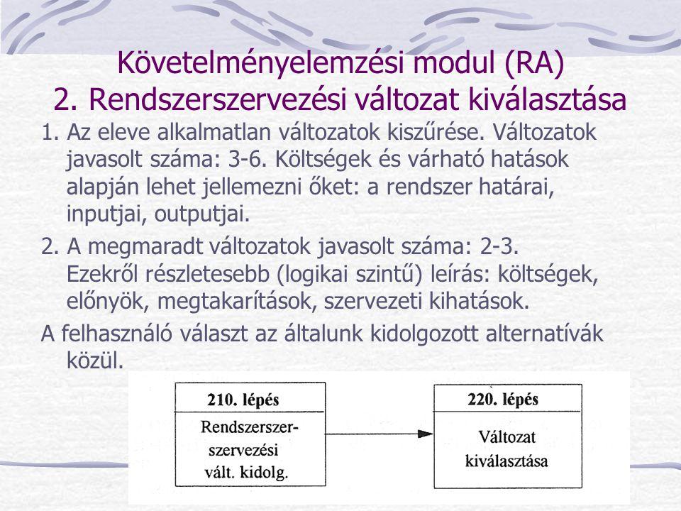 Követelményelemzési modul (RA) 2. Rendszerszervezési változat kiválasztása 1. Az eleve alkalmatlan változatok kiszűrése. Változatok javasolt száma: 3-