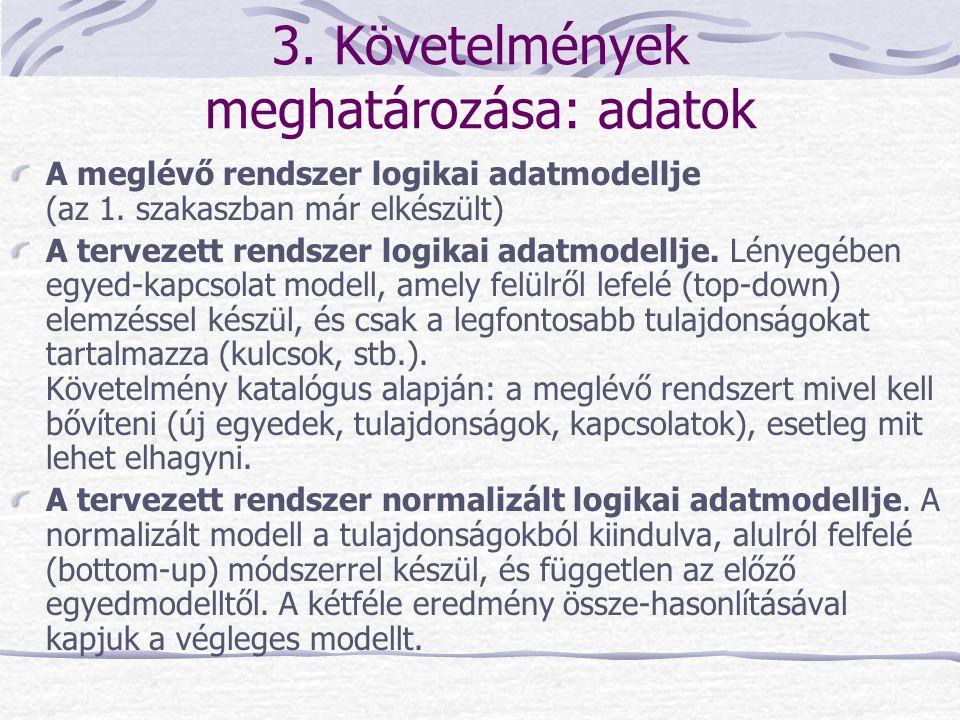 3. Követelmények meghatározása: adatok A meglévő rendszer logikai adatmodellje (az 1. szakaszban már elkészült) A tervezett rendszer logikai adatmodel