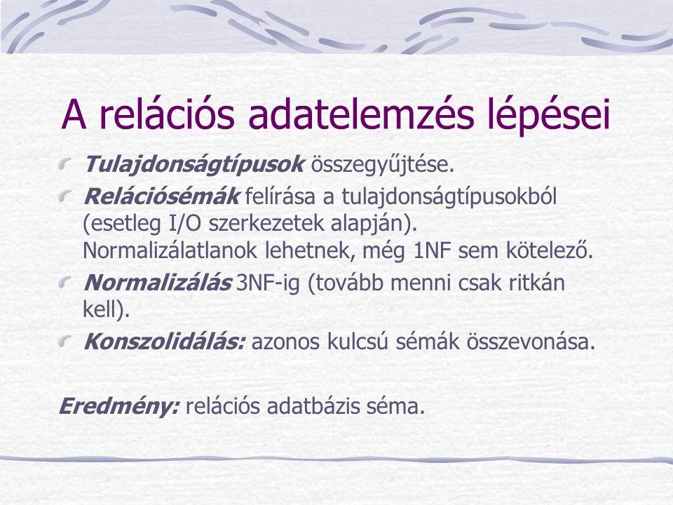 A relációs adatelemzés lépései Tulajdonságtípusok összegyűjtése. Relációsémák felírása a tulajdonságtípusokból (esetleg I/O szerkezetek alapján). Norm