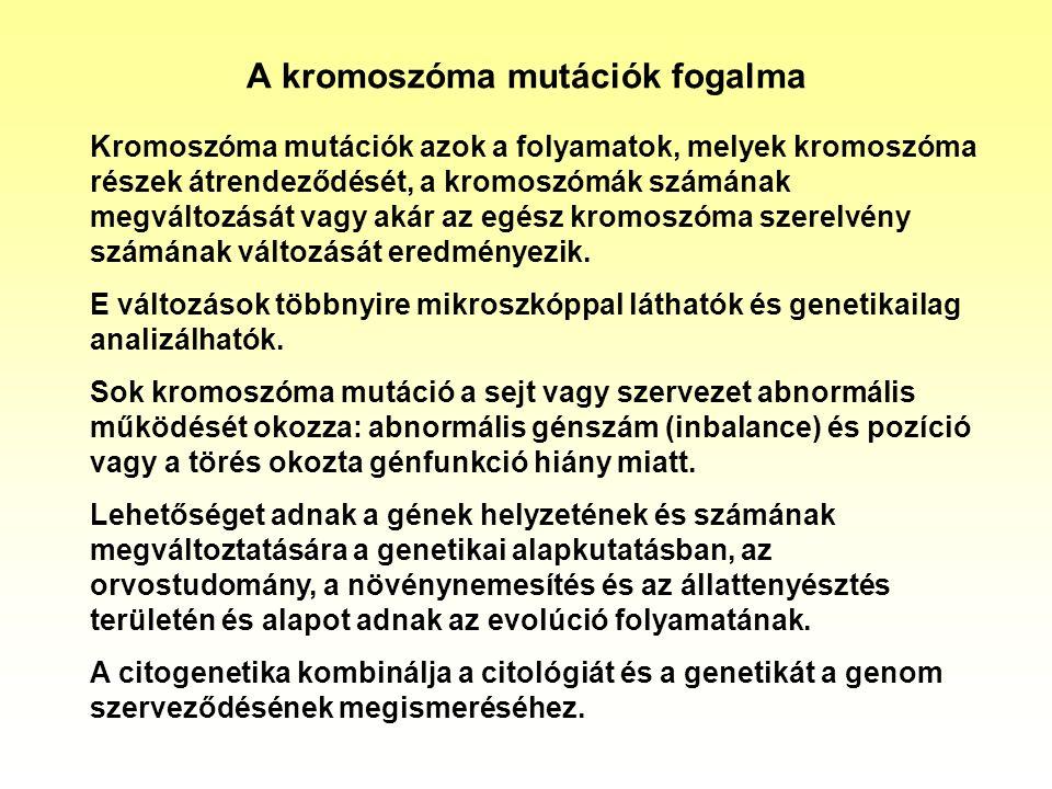 A kromoszóma mutációk fogalma Kromoszóma mutációk azok a folyamatok, melyek kromoszóma részek átrendeződését, a kromoszómák számának megváltozását vag