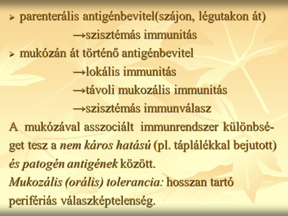  parenterális antigénbevitel(szájon, légutakon át) →szisztémás immunitás →szisztémás immunitás  mukózán át történő antigénbevitel →lokális immunitás