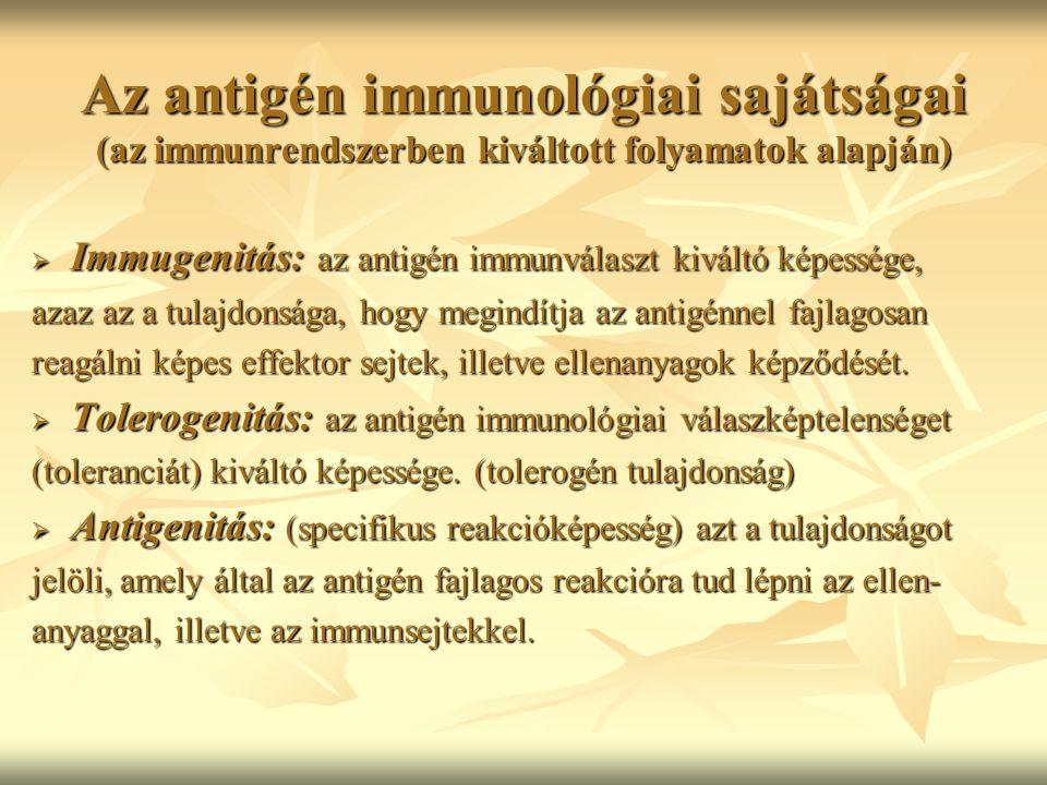Az antigén immunológiai sajátságai (az immunrendszerben kiváltott folyamatok alapján)  Immugenitás: az antigén immunválaszt kiváltó képessége, azaz a