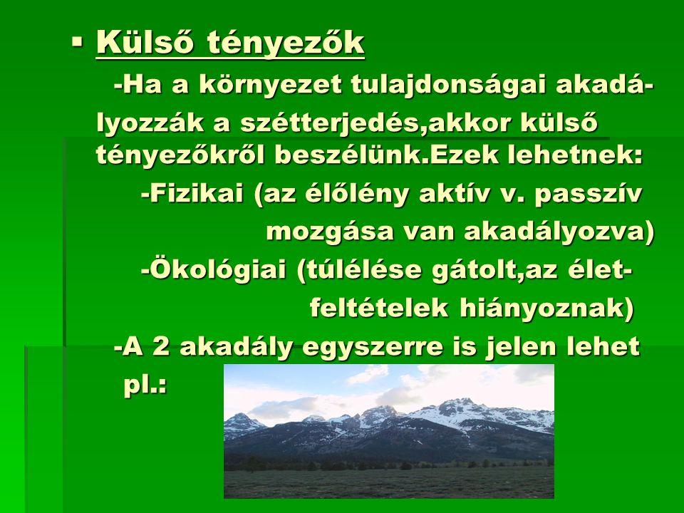  Külső tényezők -Ha a környezet tulajdonságai akadá- -Ha a környezet tulajdonságai akadá- lyozzák a szétterjedés,akkor külső tényezőkről beszélünk.Ezek lehetnek: lyozzák a szétterjedés,akkor külső tényezőkről beszélünk.Ezek lehetnek: -Fizikai (az élőlény aktív v.