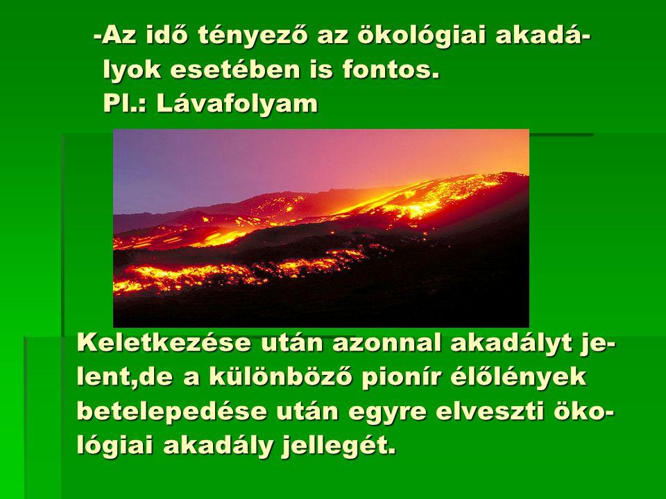 -Az idő tényező az ökológiai akadá- -Az idő tényező az ökológiai akadá- lyok esetében is fontos.