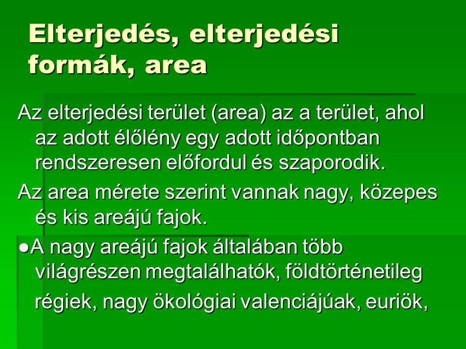 Elterjedés, elterjedési formák, area Az elterjedési terület (area) az a terület, ahol az adott élőlény egy adott időpontban rendszeresen előfordul és szaporodik.