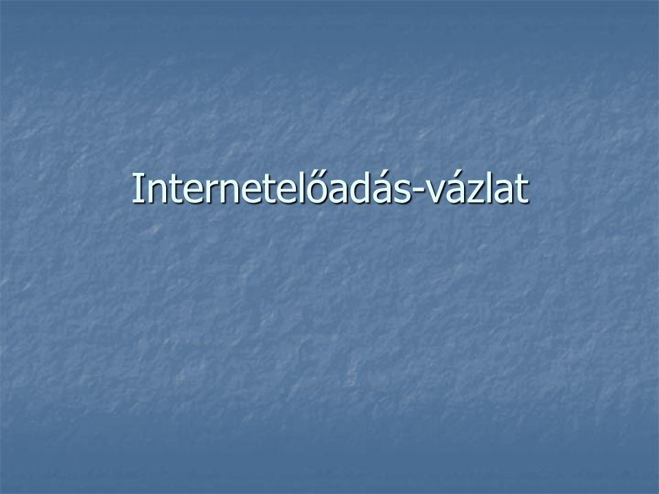Az Internet története 1969: ARPANet, 4 egyetem kapcsolata 1969: ARPANet, 4 egyetem kapcsolata 1972: 37 helyszín kapcsolata 1972: 37 helyszín kapcsolata 1974: TCP, IP szabványok 1974: TCP, IP szabványok 1983: az ARPANet áttér a TCP/IP-re, ettől kezdve használatos az Internet kifejezés 1983: az ARPANet áttér a TCP/IP-re, ettől kezdve használatos az Internet kifejezés 1984: Az első névszerver (DNS) 1984: Az első névszerver (DNS) 80-as évek vége: routerek megjelenése, gerinchálózatok 80-as évek vége: routerek megjelenése, gerinchálózatok 1992: CERN, WWW 1992: CERN, WWW