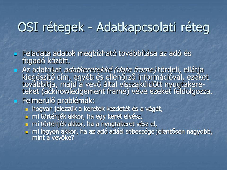 OSI rétegek - Adatkapcsolati réteg Feladata adatok megbízható továbbítása az adó és fogadó között. Feladata adatok megbízható továbbítása az adó és fo