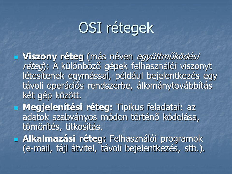 OSI rétegek Viszony réteg (más néven együttműködési réteg): A különböző gépek felhasználói viszonyt létesítenek egymással, például bejelentkezés egy távoli operációs rendszerbe, állománytovábbítás két gép között.