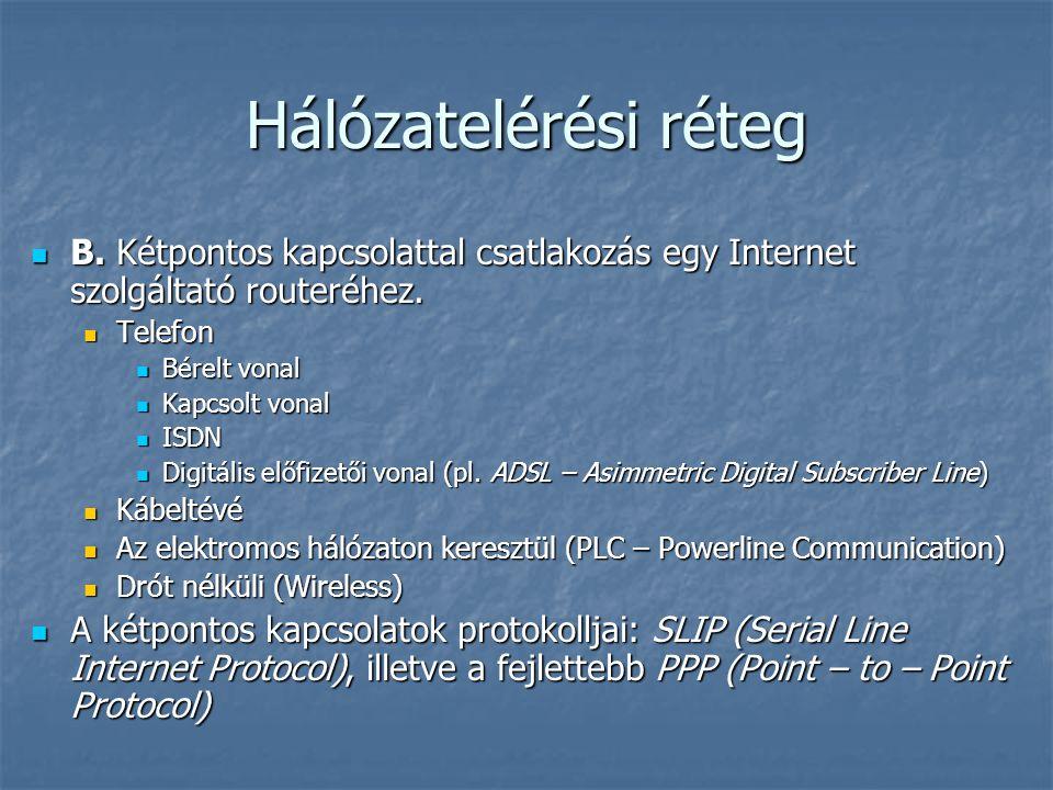 Hálózatelérési réteg B. Kétpontos kapcsolattal csatlakozás egy Internet szolgáltató routeréhez. B. Kétpontos kapcsolattal csatlakozás egy Internet szo