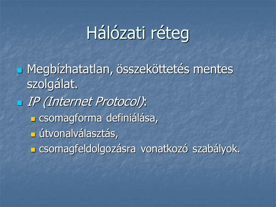 Hálózati réteg Megbízhatatlan, összeköttetés mentes szolgálat. Megbízhatatlan, összeköttetés mentes szolgálat. IP (Internet Protocol): IP (Internet Pr
