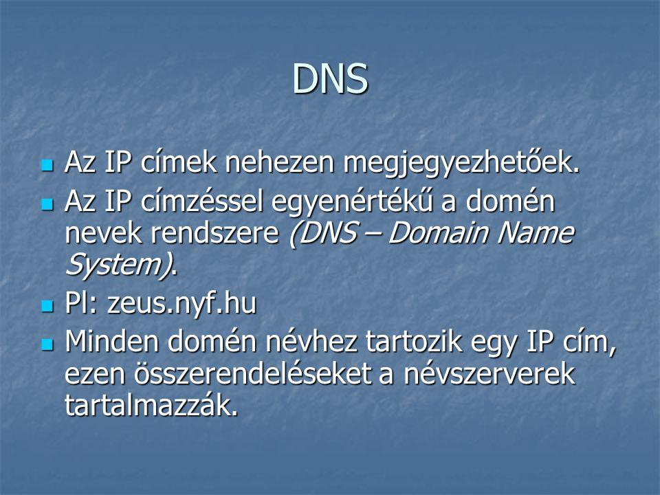 DNS Az IP címek nehezen megjegyezhetőek. Az IP címek nehezen megjegyezhetőek. Az IP címzéssel egyenértékű a domén nevek rendszere (DNS – Domain Name S