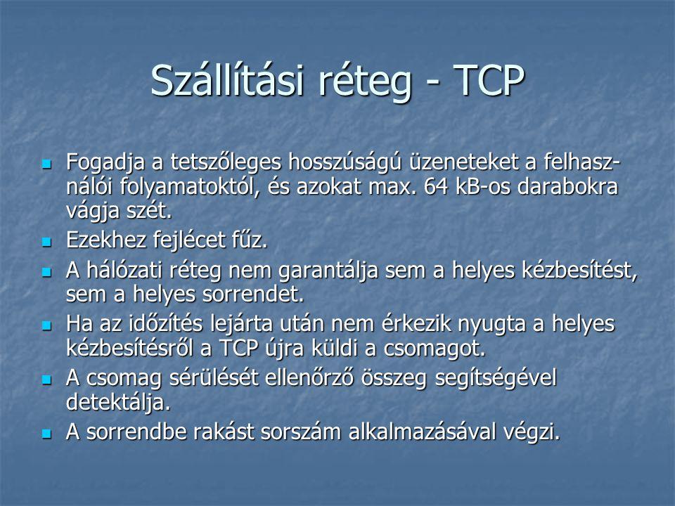 Szállítási réteg - TCP Fogadja a tetszőleges hosszúságú üzeneteket a felhasz- nálói folyamatoktól, és azokat max. 64 kB-os darabokra vágja szét. Fogad