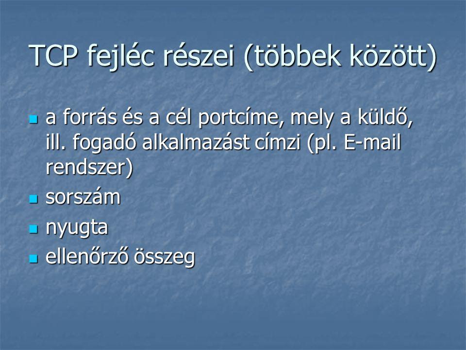 TCP fejléc részei (többek között) a forrás és a cél portcíme, mely a küldő, ill. fogadó alkalmazást címzi (pl. E-mail rendszer) a forrás és a cél port