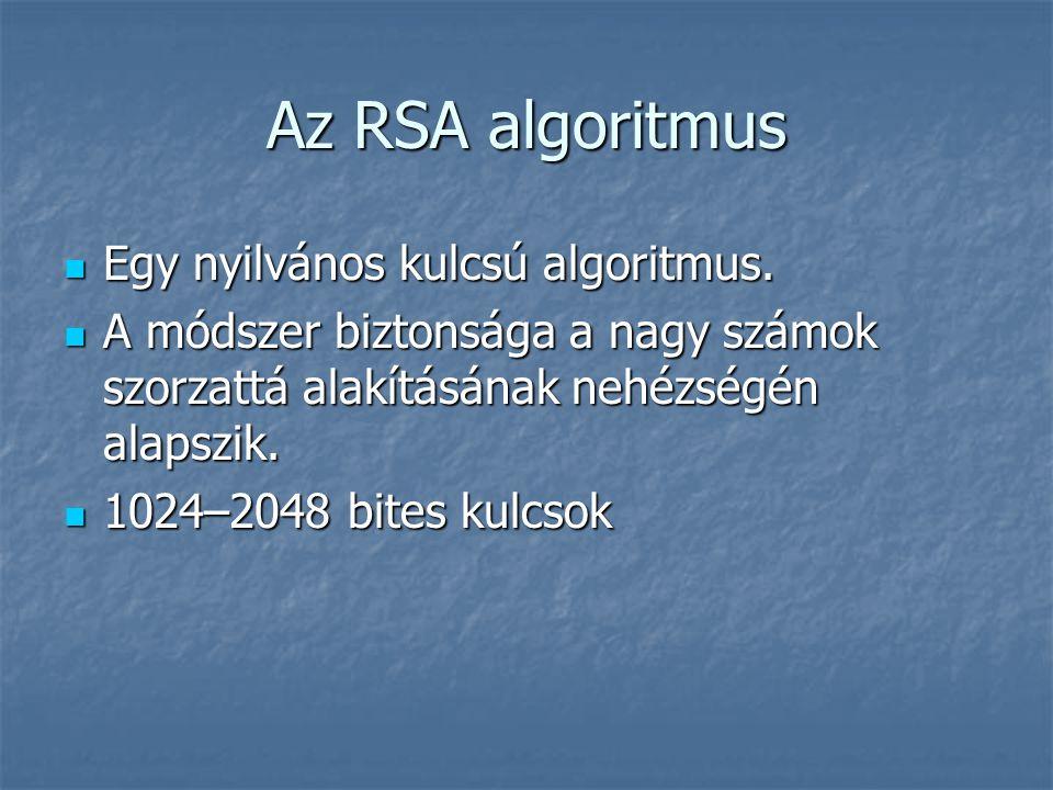 Az RSA algoritmus Egy nyilvános kulcsú algoritmus. Egy nyilvános kulcsú algoritmus. A módszer biztonsága a nagy számok szorzattá alakításának nehézség