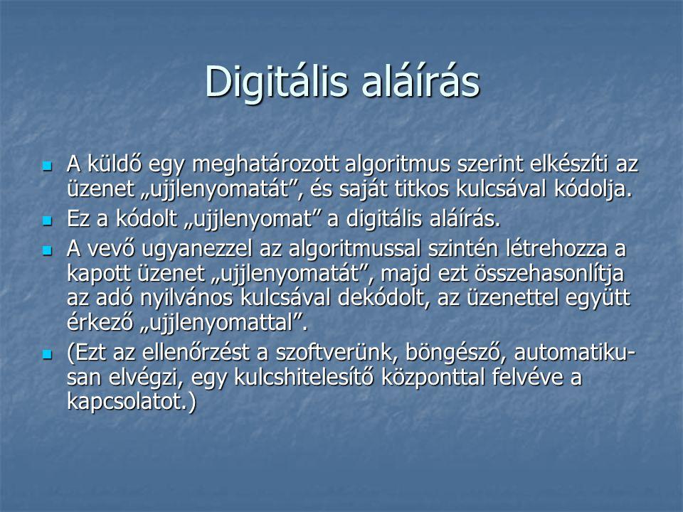"""Digitális aláírás A küldő egy meghatározott algoritmus szerint elkészíti az üzenet """"ujjlenyomatát"""", és saját titkos kulcsával kódolja. A küldő egy meg"""