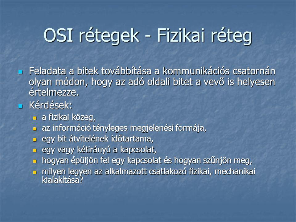 OSI rétegek - Fizikai réteg Feladata a bitek továbbítása a kommunikációs csatornán olyan módon, hogy az adó oldali bitet a vevő is helyesen értelmezze.
