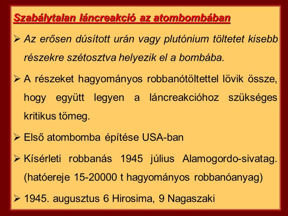 Szabálytalan láncreakció az atombombában  Az erősen dúsított urán vagy plutónium töltetet kisebb részekre szétosztva helyezik el a bombába.  A része