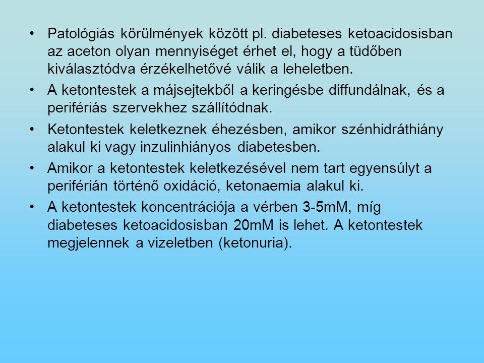 Patológiás körülmények között pl. diabeteses ketoacidosisban az aceton olyan mennyiséget érhet el, hogy a tüdőben kiválasztódva érzékelhetővé válik a