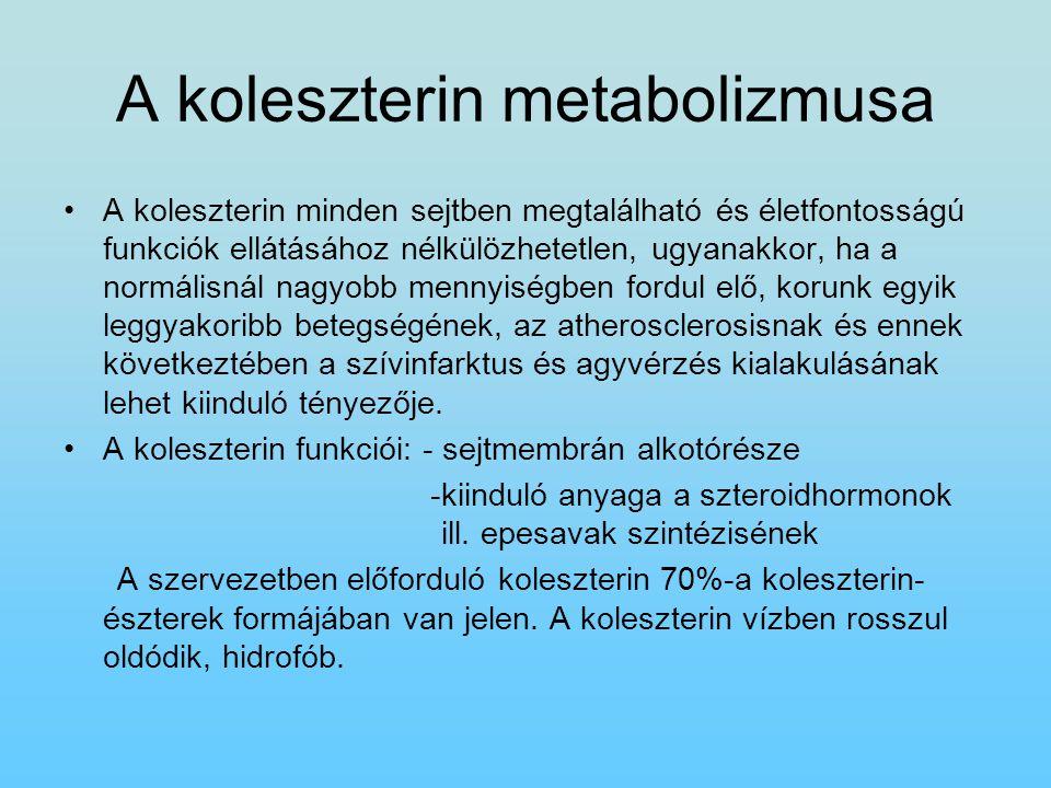 A koleszterin metabolizmusa A koleszterin minden sejtben megtalálható és életfontosságú funkciók ellátásához nélkülözhetetlen, ugyanakkor, ha a normál