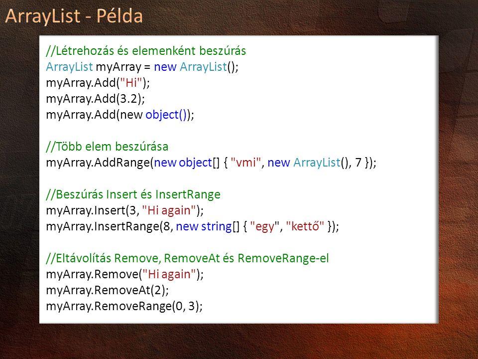 //Létrehozás és elemenként beszúrás ArrayList myArray = new ArrayList(); myArray.Add(