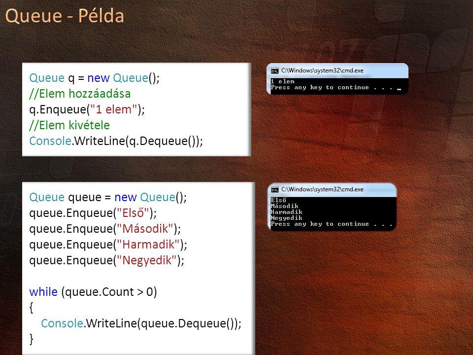 Queue q = new Queue(); //Elem hozzáadása q.Enqueue( 1 elem ); //Elem kivétele Console.WriteLine(q.Dequeue()); Queue queue = new Queue(); queue.Enqueue( Első ); queue.Enqueue( Második ); queue.Enqueue( Harmadik ); queue.Enqueue( Negyedik ); while (queue.Count > 0) { Console.WriteLine(queue.Dequeue()); }