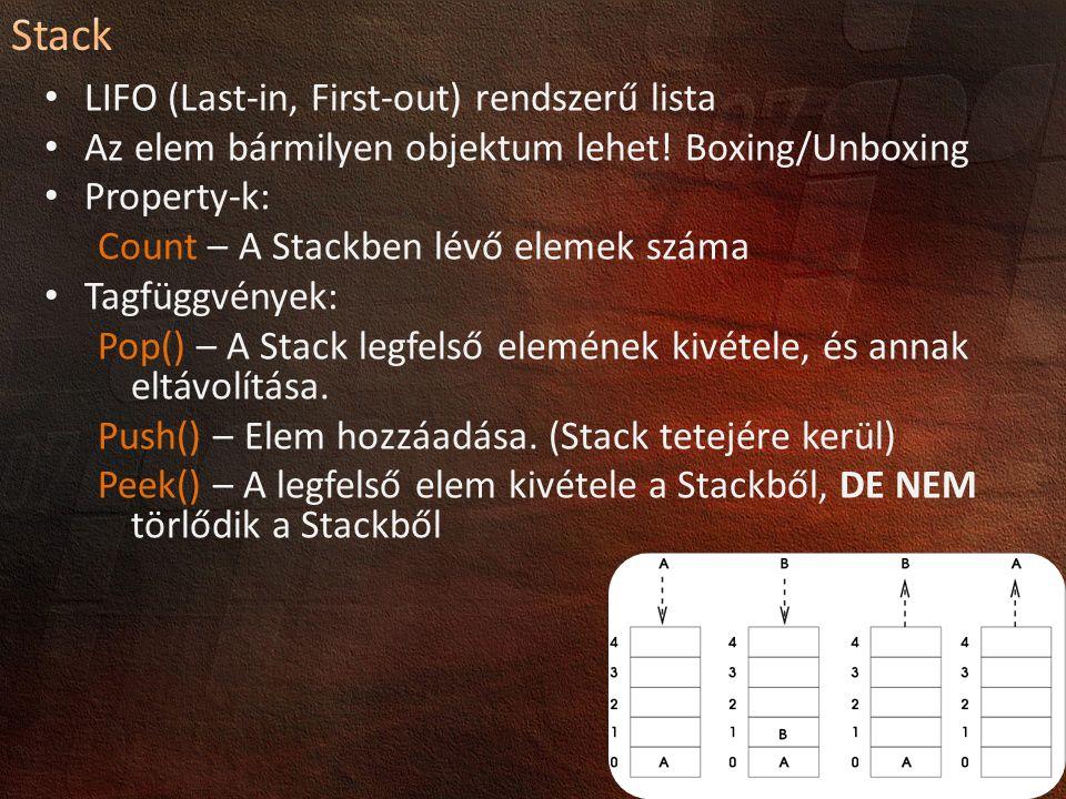 LIFO (Last-in, First-out) rendszerű lista Az elem bármilyen objektum lehet! Boxing/Unboxing Property-k: Count – A Stackben lévő elemek száma Tagfüggvé