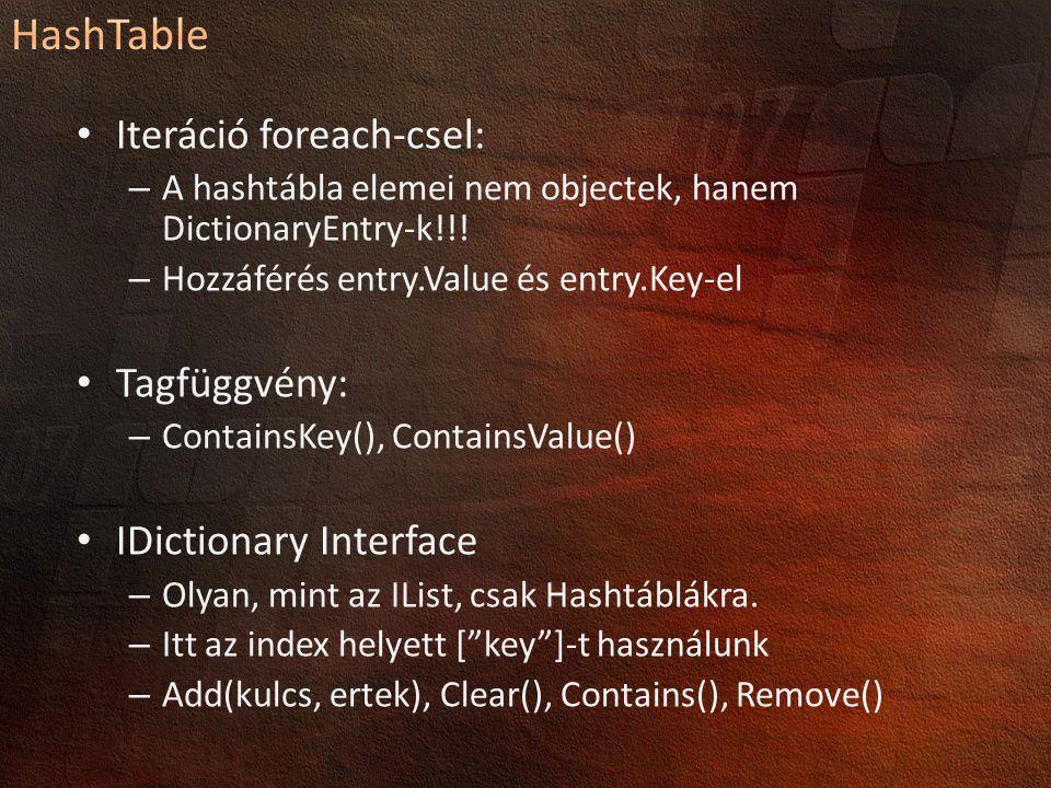 Iteráció foreach-csel: – A hashtábla elemei nem objectek, hanem DictionaryEntry-k!!! – Hozzáférés entry.Value és entry.Key-el Tagfüggvény: – ContainsK