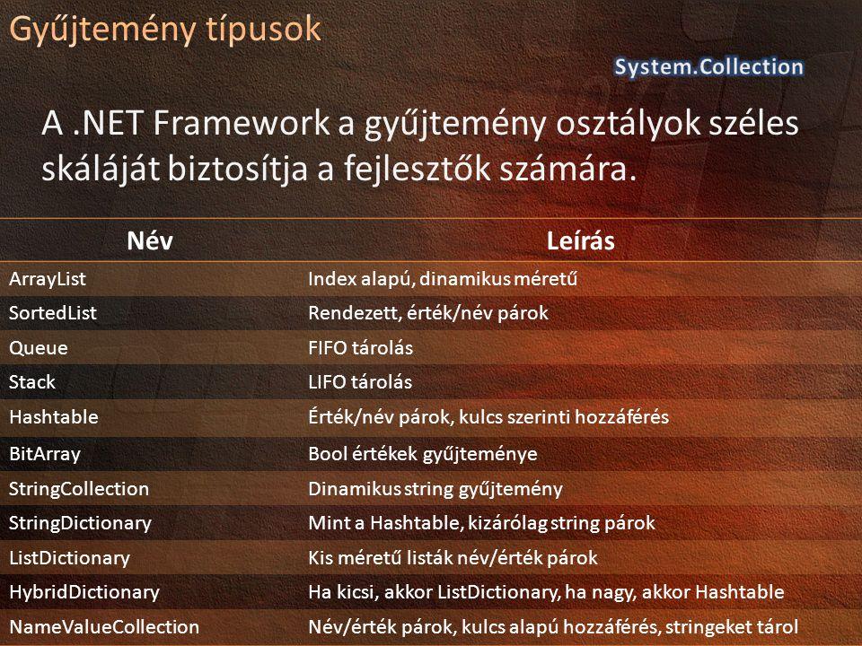A.NET Framework a gyűjtemény osztályok széles skáláját biztosítja a fejlesztők számára. NévLeírás ArrayListIndex alapú, dinamikus méretű SortedListRen
