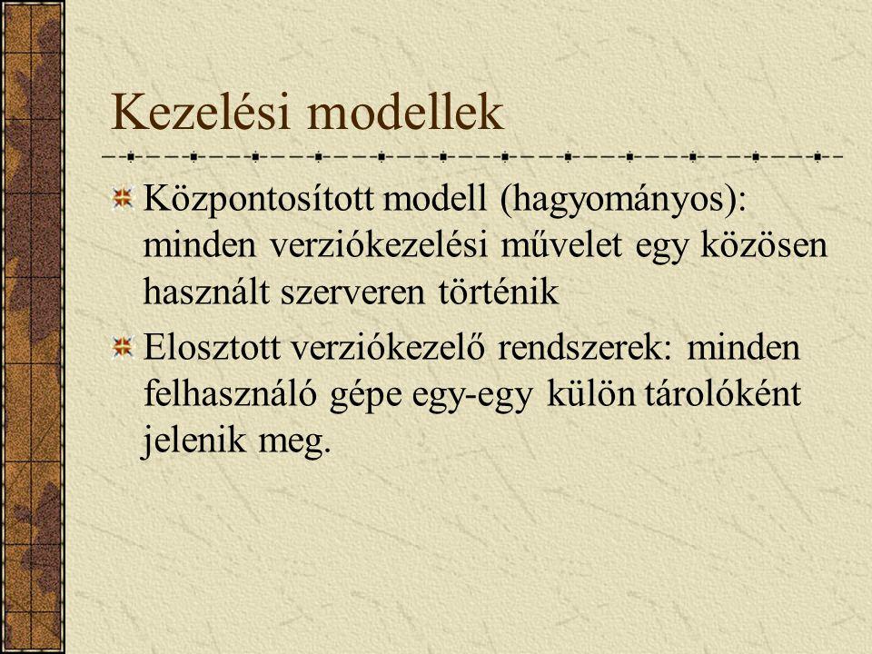 Kezelési modellek Központosított modell (hagyományos): minden verziókezelési művelet egy közösen használt szerveren történik Elosztott verziókezelő re