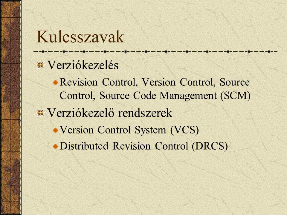 Kulcsszavak Verziókezelés Revision Control, Version Control, Source Control, Source Code Management (SCM) Verziókezelő rendszerek Version Control Syst