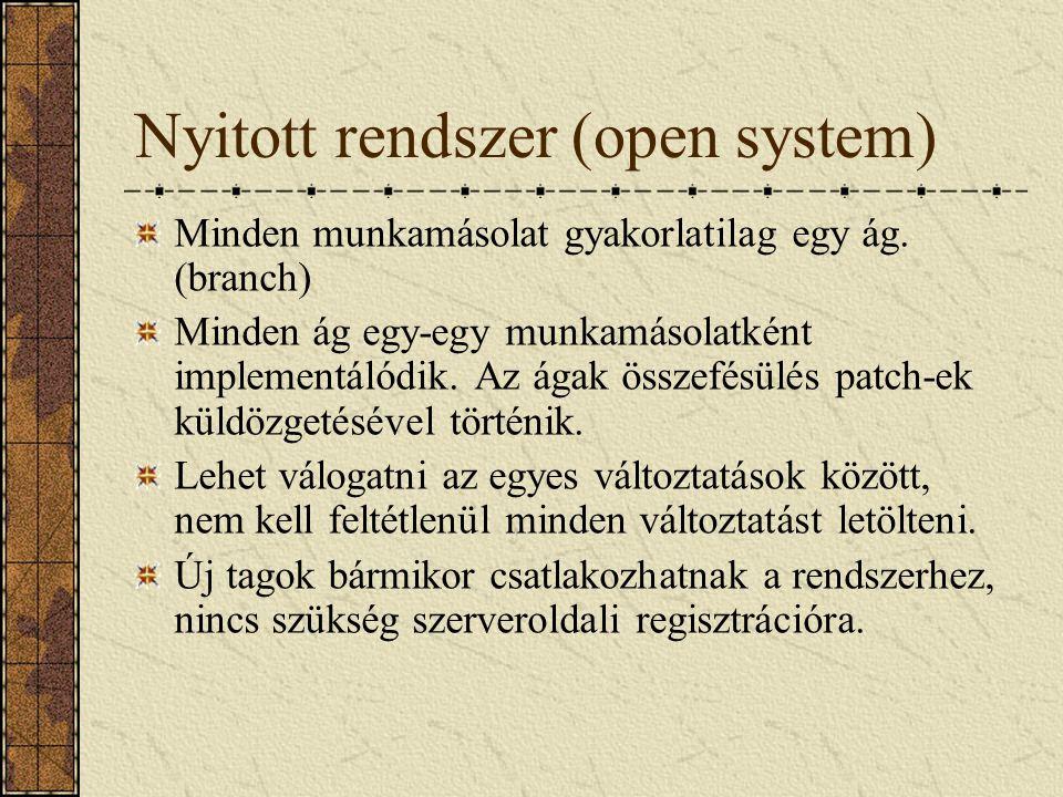 Nyitott rendszer (open system) Minden munkamásolat gyakorlatilag egy ág. (branch) Minden ág egy-egy munkamásolatként implementálódik. Az ágak összefés