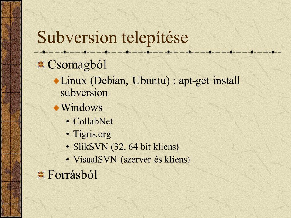 Subversion telepítése Csomagból Linux (Debian, Ubuntu) : apt-get install subversion Windows CollabNet Tigris.org SlikSVN (32, 64 bit kliens) VisualSVN