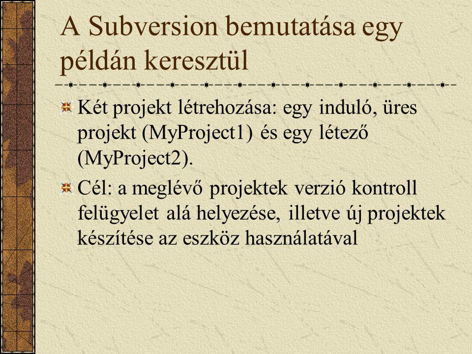 A Subversion bemutatása egy példán keresztül Két projekt létrehozása: egy induló, üres projekt (MyProject1) és egy létező (MyProject2). Cél: a meglévő
