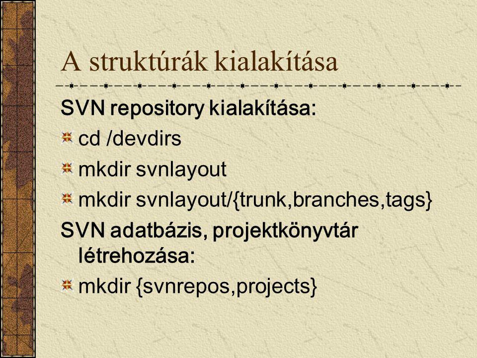 A struktúrák kialakítása SVN repository kialakítása: cd /devdirs mkdir svnlayout mkdir svnlayout/{trunk,branches,tags} SVN adatbázis, projektkönyvtár