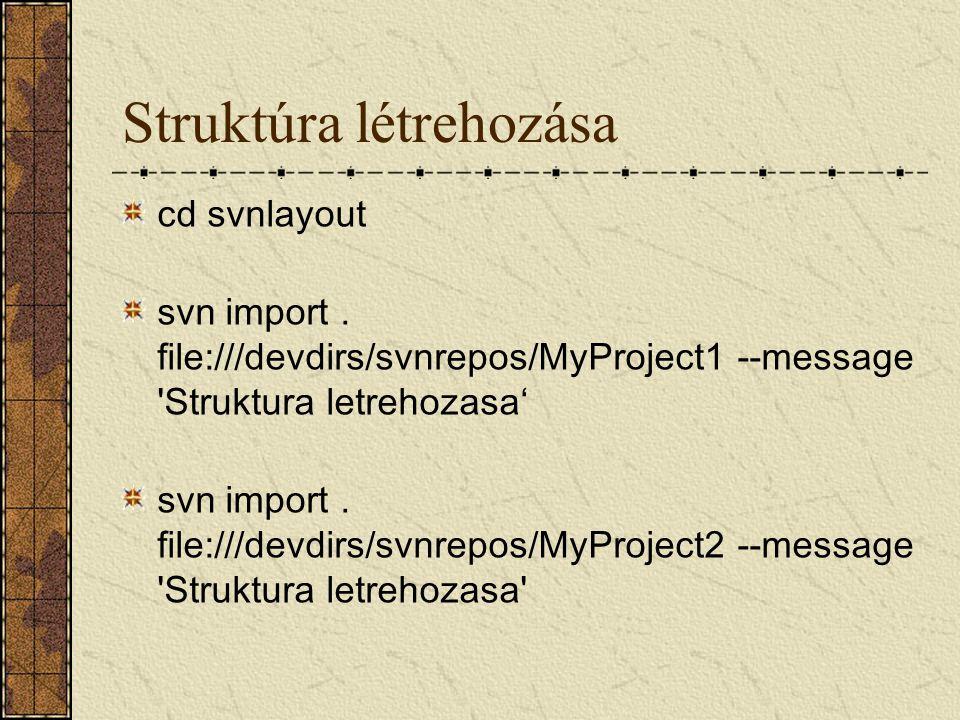Struktúra létrehozása cd svnlayout svn import. file:///devdirs/svnrepos/MyProject1 --message 'Struktura letrehozasa' svn import. file:///devdirs/svnre