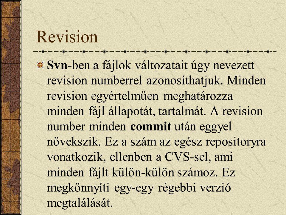 Revision Svn-ben a fájlok változatait úgy nevezett revision numberrel azonosíthatjuk. Minden revision egyértelműen meghatározza minden fájl állapotát,