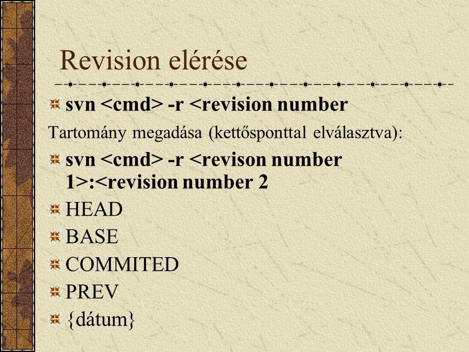 Revision elérése svn -r <revision number Tartomány megadása (kettősponttal elválasztva): svn -r :<revision number 2 HEAD BASE COMMITED PREV {dátum}