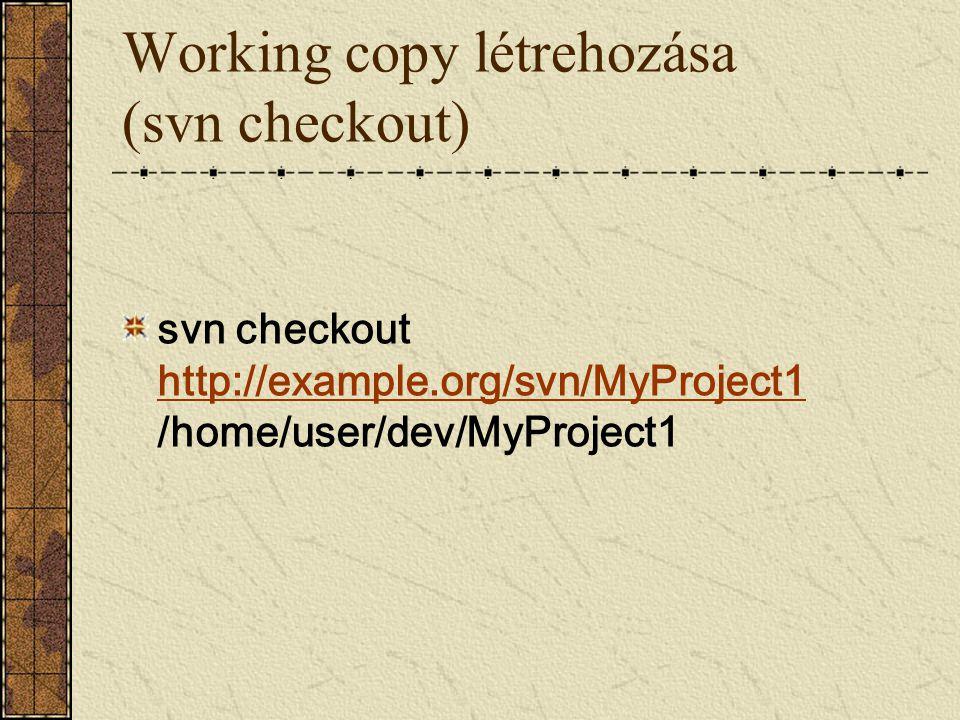 Working copy létrehozása (svn checkout) svn checkout http://example.org/svn/MyProject1 /home/user/dev/MyProject1 http://example.org/svn/MyProject1