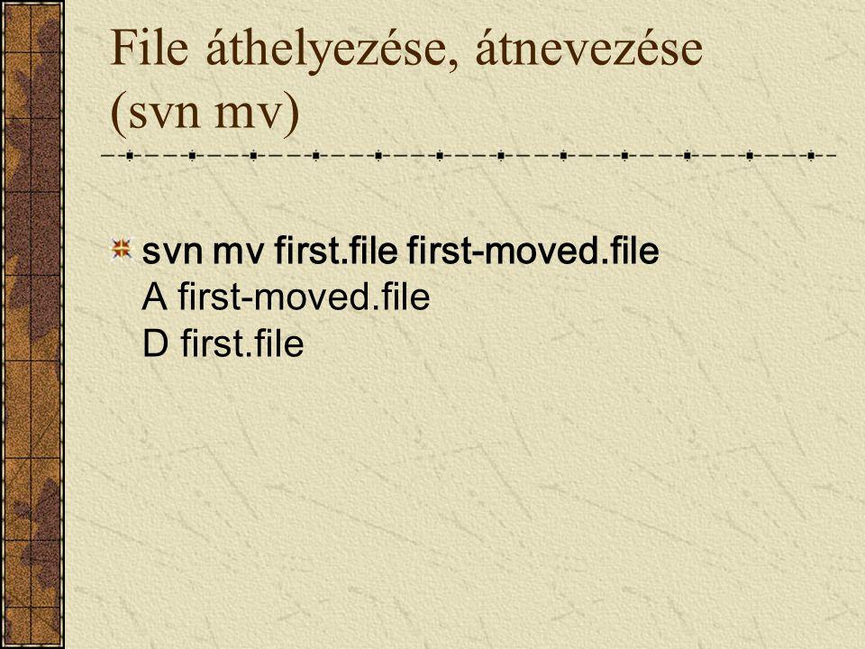 File áthelyezése, átnevezése (svn mv) svn mv first.file first-moved.file A first-moved.file D first.file