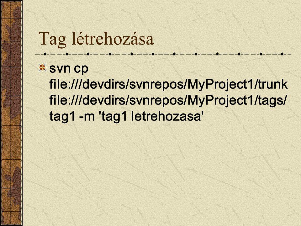 Tag létrehozása svn cp file:///devdirs/svnrepos/MyProject1/trunk file:///devdirs/svnrepos/MyProject1/tags/ tag1 -m 'tag1 letrehozasa'